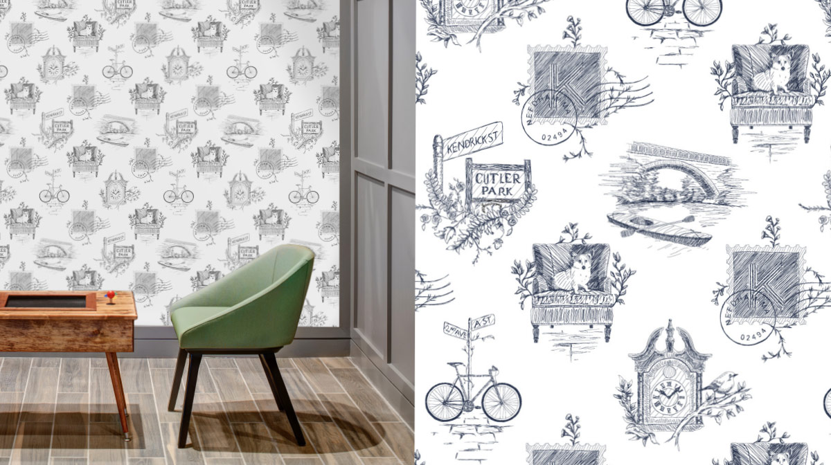 The Kendrick custom toile wallcovering